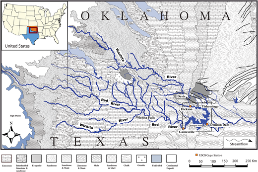 Geochemistry of a large impoundment part ii fe and mn cycling and geological map of lake texoma and the upper red river basin adopted from king fandeluxe Images
