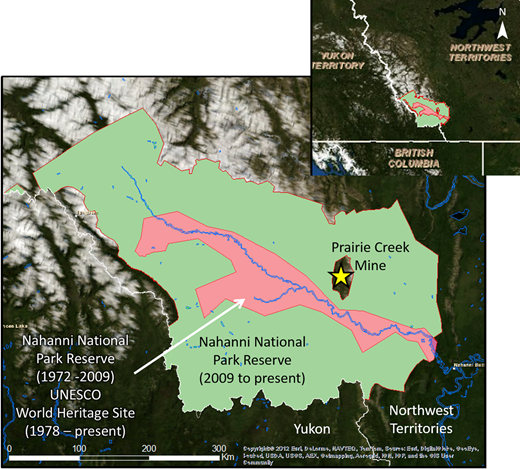 Location and extent of the original, and recently expanded Nahanni National Park Reserve and UNESCO World Heritage Site, and location of the Prairie Creek Mine.