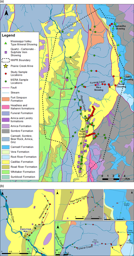 Geology and sampling locations of the Prairie Creek Mine area. Red circles represent the study sampling locations; green circles represent previous sampling studies of the MERA program. Quartz-carbonate-sulphide vein showings are represented by purple squares, and MVT showings are represented by light green triangles.