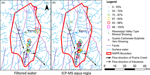 Map of the study area showing the dispersion trends of the elements of interest as a whole. Data represents the sums of the median-normalized concentrations for the elements of interest, each point plotted as a percentile of the entire data range. (a) Filtered waters. (b) Silt sediments digested by aqua regia and analysed by ICP-MS.