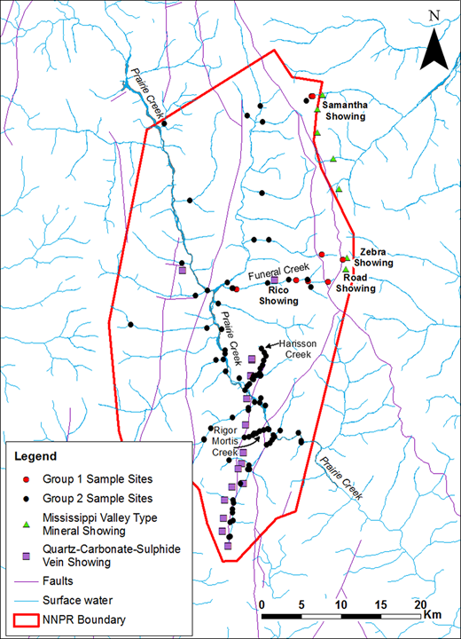 Populations of sample sites that show differences in major contributing elements to the summed score value. Group 1 consists of samples along Funeral Creek, and near the Zebra, Road and Samantha showings. Remaining samples are in Group 2.