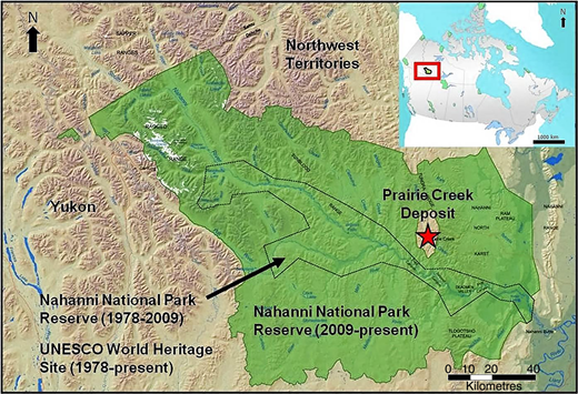 Present and historical boundaries of the Nahanni National Park Reserve and the Nahanni National Park UNESCO World Heritage Site, as well as the location of the Prairie Creek Mine area (modified from Parks Canada, 2014).