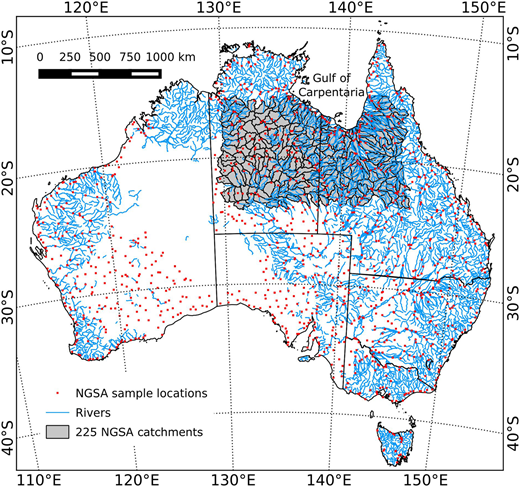 Map of Australia showing selected National Geochemical Survey of Australia (NGSA; Caritat & Cooper 2011a) sample locations (red points) and the 225 catchments selected for this study (grey polygons) overlain with the Australian river network (blue polylines) (Geoscience Australia 2003). For interpretation of the references to colour in this figure, the reader is referred to the online version of this article.