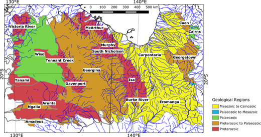 Generalised geological regions (Blake & Kilgour 1998) across the study area, colour coded by age. For interpretation of the references to colour in this figure, the reader is referred to the online version of this article.