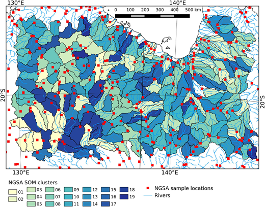 Spatial distribution of the 19 catchment clusters for SOM map dimensions 6 by 33 and 198 nodes. For interpretation of the references to colour in this figure, the reader is referred to the online version of this article.