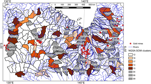 Spatial distribution of catchments with high Au concentration (colour intensity indicates Au concentration rank, see Fig. 6) and neighbouring upstream catchment clusters 4, 6 and 9. For interpretation of the references to colour in this figure, the reader is referred to the online version of this article.
