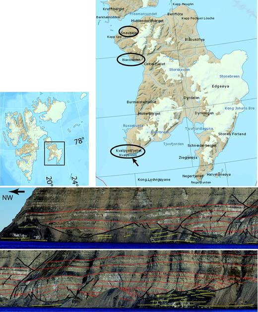 Upper left: map of the Svalbard archipelago with inset box showing Edgeøya. Upper              right: map of Edgeøya. The three ellipses are areas where Triassic growth basins occur              (Snauheia, Blankodde and Kvalpynten, from north to south). Maps modified from Norsk              Polarinstitutt's digital map site (http://toposvalbard.npolar.no/). Middle: photomosaic              interpretation of two Kvalpynten growth basins (arrow on Edgeøya map shows the view              direction). Red lines are bedding traces in sandstones, yellow lines are bedding              traces in shale detachment zone and black lines are faults. Lower: the continuation of              the middle panel to the right (NE).