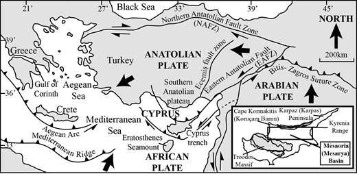 Summary tectonic map of the Eastern Mediterranean during Pleistocene time (modified from McCay et al.2013).