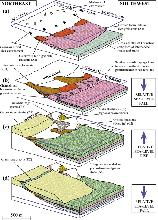 (Colour online) Depositional model of the Pleistocene development of a cool-water carbonate ramp in the northwest part of the Mesaoria (Mesarya) Basin.