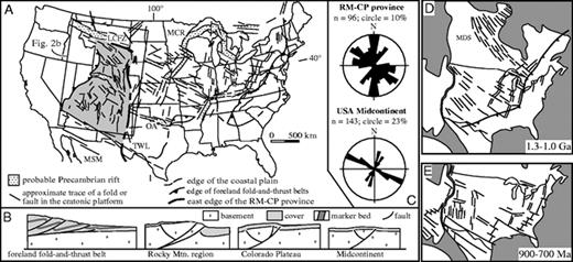 Inversion of proterozoic extensional faults an explanation for the a map of united states showing location and trend of faults and fandeluxe Gallery