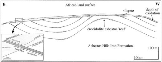 Schematic EW directed cross section illustrating the relationship between regional folding and crocidolite formation in the Griquatown-Niekerkshoop area. Syndeformational crocidolite pre-dates the African planation surface. Tiger's-eye and hawk's-eye are closely related to the Mesozoic planation surface, associated with surficial silicification and oxidation. Note vertical exaggeration; not to scale.