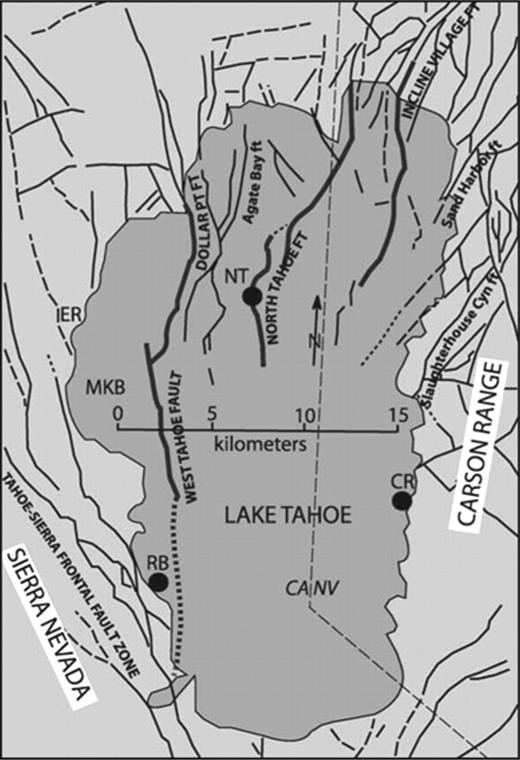 Simplified map of faults of the Lake Tahoe basin (Schweickert et al., 2000a, 2000b). Gray lines are faults discussed by Kent et al. (2005). CR—Cave Rock site, NT—North Tahoe fault site, RB—Rubicon Bay site.
