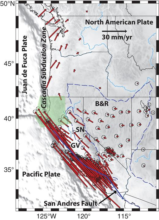 Figure 1. Western North American plate boundary zone. Red vectors are GPS observations from Bennett et al. (1999, 2003) plotted in the North American reference frame. Blue dashed lines show boundaries of the Basin and Range and Sierra Nevada provinces. Green zone represents region of areal reduction determined by Kreemer and Hammond (2007) that balances the extension occurring in the Basin and Range. SN—Sierra Nevada, GV—Great Valley, B&R—Basin and Range.