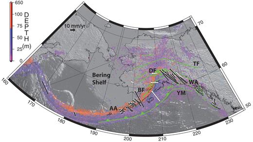 Figure 1. Southern Alaskan convergent margin. Green line segments denote major faults. Colored dots show locations of earthquakes >Mw = 3 from the Alaska Earthquake Information Center. Black vectors represent GPS observations from Sauber et al. (1997), Mazzotti et al. (2003), Fournier and Freymueller (2007), Fletcher and Freymueller (2003), and Avé Lallemant and Oldow (2000); white vectors show kinematic model velocities from Flesch et al. (2007). AA—Aleutian Arc; BF—Bruin Bay fault; TF—Tintina fault; DF—Denali fault; WR—Wrangell Arc; YM—Yakutat microplate.
