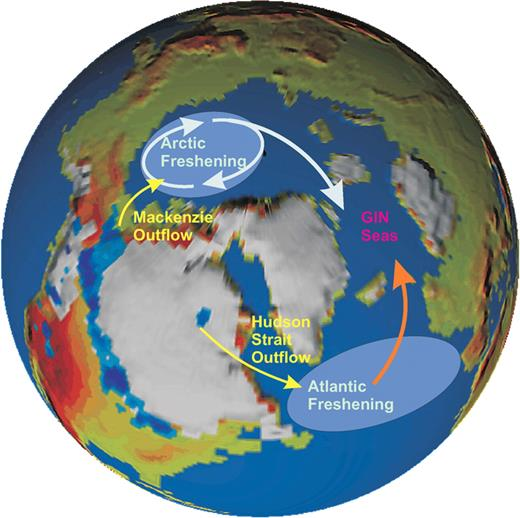 "Figure 1. Freshwater ""hosing"" areas over the North Atlantic and Arctic Oceans employed for the purpose of comparing the impact of surface ocean freshening on Atlantic thermohaline circulation."