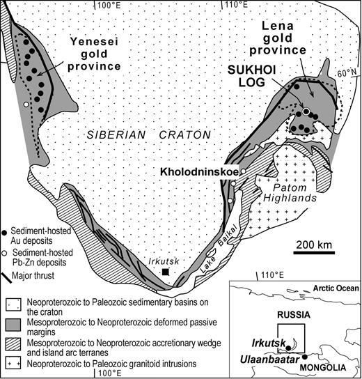 Location of Sukhoi Log deposit (after Large et al., 2007).