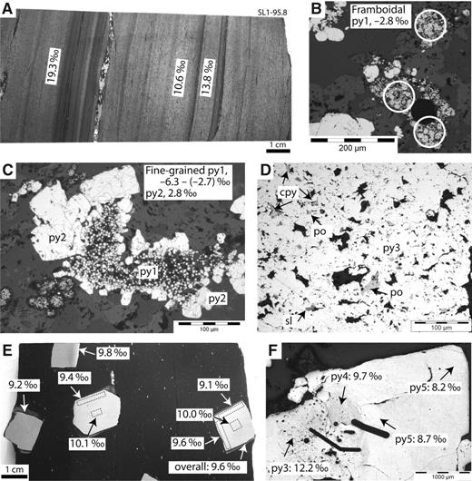 Textural features of different types of pyrite and their S isotope compositions. Abbreviations: py—pyrite; cpy—chalcopyrite; po—pyrrhotite; sl—sphalerite. A: Bedding-parallel py1, with large variation over short distance. B: Framboidal pyrite, typically with the lightest S isotope compositions. C: Fine-grained pyrite in the same band as framboidal pyrite also has low δ34S values; py2 recrystallized and/or overgrown from py1 also has low δ34S values. D: py3 typically contains inclusions of po, cpy, sl, native Au, and silicates. E: py4 has little variation within individual grain, and inter-granular variation over 7 cm is minimal. F: Pyrite in quartz-pyrite segregation or veins is mostly py5 and may contain py3 and/or py4, and native Au. The δ34S values of py5 have a smaller range (~7‰ to 13‰), coincident with the mode and central part of whole sulfide δ34S range.