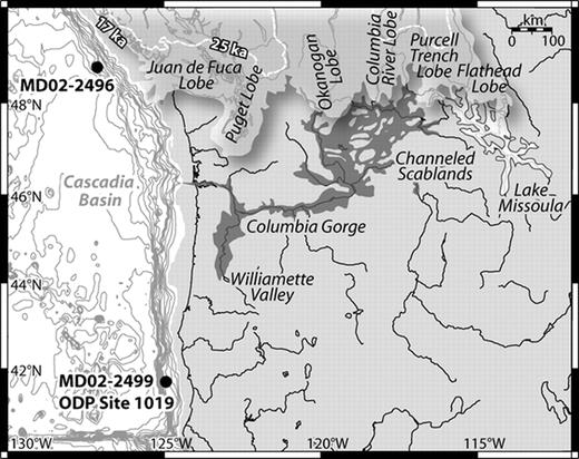 Map of northwestern American margin showing location of the southern lobes of the Cordilleran Ice Sheet at 17 ka, Lake Missoula (light shading), the Scablands (dark shading; Waitt, 1985), and locations of the deep sea cores. The maximum extent of the Cordilleran Ice Sheet at 25 ka (heavy dashed white line) and at 17 ka (3-dimensional white shading) is indicated (Clague and James, 2002). ODP—Ocean Drilling Program.