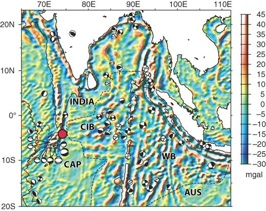 Tectonic map of the equatorial Indian Ocean showing band-pass filtered gravity and focal mechanisms for earthquakes with moments > 3 × 1016 N-m (black-filled solutions are Harvard centroid-moment-tensor solutions; gray-filled solutions are from Bergman et al. [1984] and Levchenko [1989]). Solid black curve near left edge of figure shows trace of the Central Indian Ridge and transform system. Dashed curves show the edges of diffuse oceanic plate boundaries. Filled-red circle is the pole of rotation between the Indian (INDIA) and Capricorn (CAP) plates. Divergence is accommodated west of the pole of rotation and convergence is accommodated east of the pole of rotation. The filtered gravity reveals east-west–striking undulations in the Central Indian Basin (CIB) and northeast-southwest–striking undulations (superposed on north-south fracture zones and volcanic topography) in the Wharton Basin (WB), thought to be lithospheric folds. The Australian plate (AUS) begins in the lower right part of the figure. After Royer and Gordon (1997).