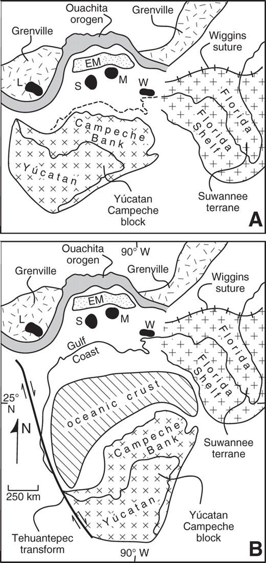 Pre-rift (A) and post-drift (B) configurations of the Gulf of Mexico region. EM—Eagle Mills rift basins. Uplifts (surface and subsurface): L—Llano; M—Monroe; S—Sabine; W—Wiggins.