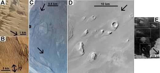 Examples of streamlined forms on Earth and Mars; arrows indicate approximate flow directions. (A) Yardangs in the Atacama Desert. Image credit: Google Earth. (B) Yardangs in the Medusae Fossae Formation, Mars. Image credit: NASA/Jet Propulsion Laboratory (JPL). (C) Streamlined forms in the Jökulsá á Fjöllum outflow channel, Iceland; contemporary river visible at upper and lower left. Image credit: Loftmyndir. (D) Streamlined forms in Athabasca Valles, Mars. Image credit: NASA/JPL/Malin Space Science Systems. (E) Streamlined forms on Titan. Image credit: NASA/JPL/Imaging Science Subsystem.