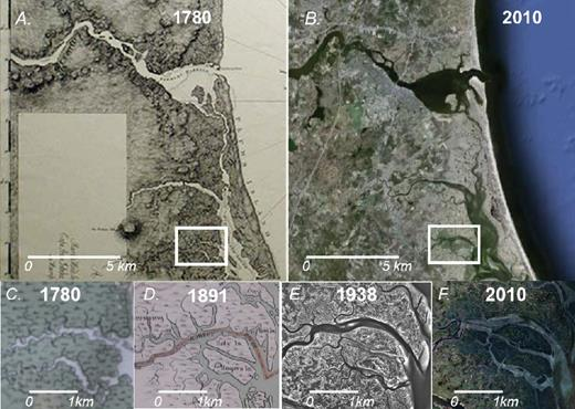 Side-by-side comparison of the Atlantic Neptune map (A) (Des Barres, 1780), and modern imagery (B) (Google Earth™, 2010; image credit Massachusetts Office of Geographic Information Executive Office of Environmental Affairs [MassGIS EOEA] and U.S. Geological Survey). Study area of Kirwan et al. (2011) is outlined by white boxes. C, D: Zoomed-in time sequence of boxed area in A and B. Image credits: C—Des Barres, 1780; D—Walker, 1909; E—aerial photo, unknown publisher; F—MassGIS EOEA.