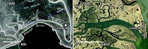 Comparison of the Anderson map (Anderson, 1830) with modern imagery (Google Earth™, 2010; image credit Massachusetts Office of Geographic Information Executive Office of Environmental Affairs [MassGIS EOEA] showing the location of core 16 had been mapped as marsh land in 1830.