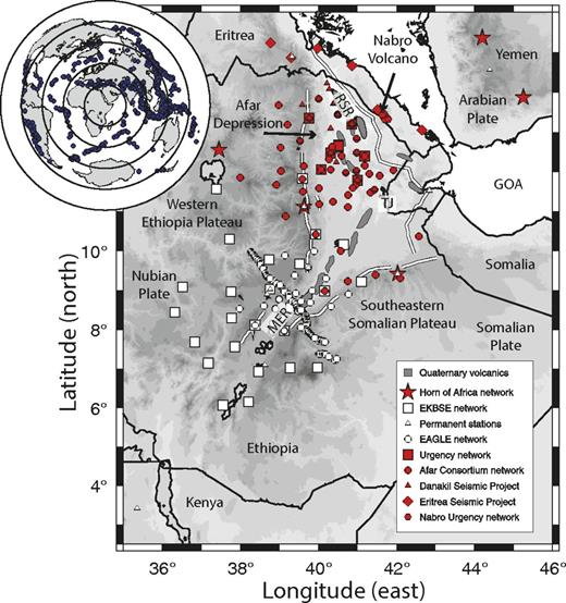 Map showing earthquakes and seismic stations used in the tomographic inversion. Solid white lines show major faults bounding Afar Depression, gray filled regions show Quaternary volcanic segments, and black lines show political borders. MER—Main Ethiopian Rift, GOA—Gulf of Aden, RSR—Red Sea Rift, TJ—triple junction, EAGLE—Ethiopia Afar Geoscientific Lithospheric Experiment, EKBSE—Ethiopia Kenya Broadband Seismic Experiment. Red symbols show data used in tomography for first time, white symbols show stations used in previous studies (Benoit et al., 2006; Bastow et al., 2008).