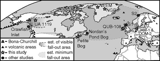 Site map showing locations of samples that were reanalyzed (stars), and several other previously published locales (circles): Crawfish Inlet (Alaska; Addison et al., 2010), Nordan's Pond Bog (Newfoundland; Pyne-O'Donnell et al., 2012), and sites S1 and S2, two examples of a more comprehensive list of sites in Europe from Lawson et al. (2012). Est.—estimate; NGRIP—North Greenland Ice Core Project; NEEM—North Greenland Eemian Ice Drilling; QUB—Queen's University Belfast; JAM—Jardelunder Moor; DOM—Dosenmoor. The lack of sites between proximal samples and eastern Canada reflects the absence of cryptotephra studies in this region.