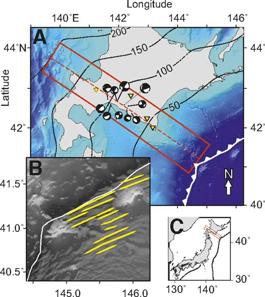 Summary map of Wadati-Benioff zone of northern Japan. A: Focal mechanisms (in black and white) of earthquakes used in full waveform analysis; stations are shown by yellow triangles. Black contours show depth to slab (Hayes et al., 2012). B: Outer rise fault scarps, highlighted in yellow, in Japan subduction zone trench. Bathymetry is from Gebco08 model (General Bathymetric Chart of the Oceans; www.gebco.net). C: Location map of study area. Red box shows profile area described in this study.