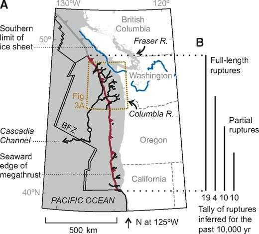 A: Index map. Submarine canyons and channels are in black. Dot along Cascadia Channel locates core sites 6609-24 and M9907-22, M9907-23, and M9907-25. BFZ—Blanco Fracture Zone; R.—river. B: Summary of earthquake history postulated by Goldfinger et al. (2012).