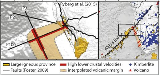 Track of the Tristan-Gough hotspot extended on the African continent. The dashed line follows the axis of the Walvis Ridge and coincides with kimberlite intrusions onshore. Together with the narrow track-like promontory of the high-velocity lower crustal body in prolongation of the Walvis Ridge, it indicates that both volcanic features might be related. The inset magnifies the distribution of the high-velocity lower crustal body observed in the presented models and demonstrates its relation to onshore faults and flood basalts.