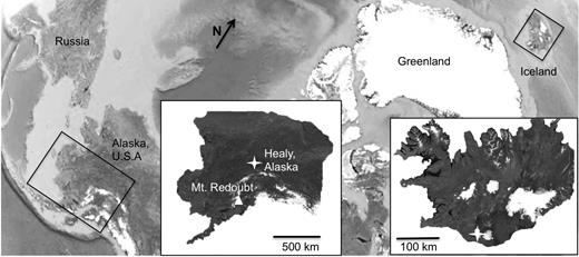 Sample collection locations, with insets showing distal sample location marked by a star in Healy, Alaska, and Mount Redoubt marked by a triangle. In Iceland, the sample was collected proximally to the volcano, Eyjafjallajökull, with both indicated by a star (Google Earth).