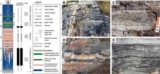 Stratigraphy and facies associations of Josefsdal Chert, South Africa. Stratigraphic column (A; based on outcrops L–M) comprises four stratigraphic units (1–4) consisting of four interbedded sedimentary (chert) facies associations (A–D) that represent sedimentation in shifting upper offshore to foreshore environments. B: Swaley and hummocky cross-stratification (SCS-HCS) (facies A), deposited by storms in the upper offshore to shoreface, dominate Unit 1, which also exhibits abundant, penecontemporaneous, hydrothermal white to translucent, vertical chert dikes (vcd) and thin chert sills. C: Iron-stained, poorly sorted, rhythmically laminated sediments of facies B, interpreted to have been deposited in a shoreface setting that was periodically tidally influenced. D: Hydrothermal black and white banded chert constitutes facies C, which caps unit 2. E: Planar-laminated volcanic accretionary lapilli and ash (facies D; cf. Lowe, 1999), comprising Unit 3, were intermittently reworked into small current and wave ripples. Facies D is inferred to have been deposited in an upper shoreface (usf in A) setting. Unit 4 contains alternations of facies A (with rare dessication cracks), C, and D that accumulated in shoreface to foreshore settings. Biosignatures occur ubiquitously in all facies; they are generally uncommon but dense in the vicinity of paleo-hydrothermal activity.