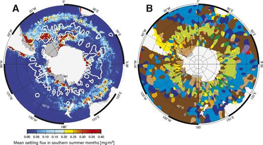 Biosiliceous oozes versus diatom chlorophyll concentration in the Southern Ocean. Stereographic projection. A: Outlines (in white) of regions where we map diatom oozes superimposed on austral summer average of diatom chlorophyll concentrations (mg/m3) for the period 2003–2013 (Soppa et al., 2014). Color scale highlights subtle variations in diatom chlorophyll concentration; maxima (dark red) reach ∼18 mg/m3. B: Distribution of lithologies; legend as in Figure 1.
