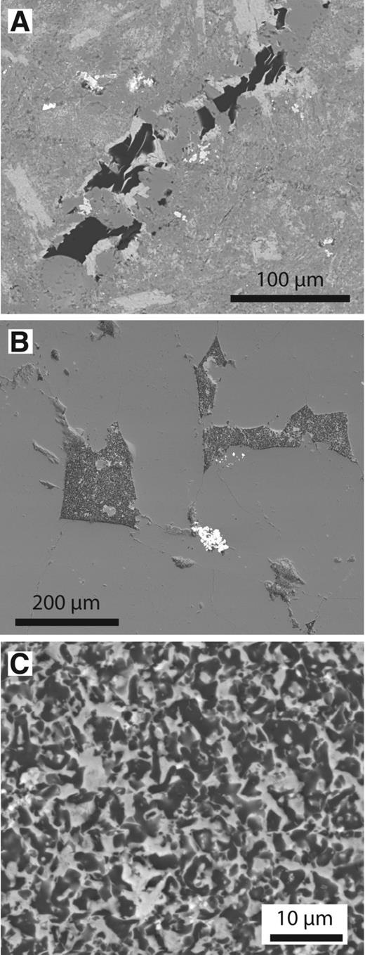 Backscattered electron micrographs of carbon in Ordovician basalts. A: Basalt containing stringers of carbon (dark) and adjacent chlorite (gray), Helen's Bay, Northern Ireland. B: Quartz (gray) containing carbon-chlorite masses (dark) and pyrite (bright), Llanwrtyd Wells, Wales. C: Detail of carbon-chlorite masses in B, showing homogeneous intermixture of carbon (dark) and chlorite (light).