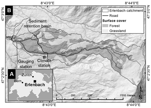 A: Location of the Erlenbach catchment in Switzerland. B: Map of the catchment.