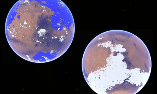 Contrasting scenarios for early Mars. On the left is an ocean world with an active hydrologic cycle that is supported by ancient geological evidence. On the right is a cold-icy highlands representation, more consistent with climate models. Credit: Robin Wordsworth.