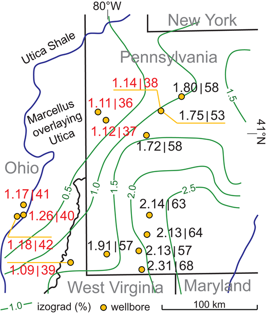 """Map covering Devonian Marcellus Formation and Ordovician Utica Formation in Pennsylvania and Ohio (USA) with Devonian isograds of vitrinite reflectance (green, in %; Ryder et al., 2013). Thick blue lines bracket the area where Marcellus Formation overlies Utica Shale. Values of Cs/Rb (in 103 units) and upper continental crust (UCC)–normalized Cs/KUCC ratios calculated for illite from Utica Shale (red) and Marcellus Formation (black) are shown in format of """"Cs/KUCC 