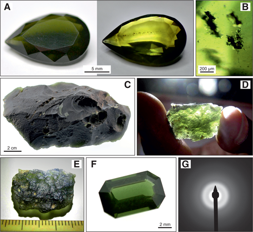 "Images of ""ekanite"" (i.e., amorphous forms of the tetragonal mineral ekanite) samples. A: Photographs of a 7.05 ct stone from Sri Lanka (collection of G. Giester, Vienna, Austria). The typical yellowish bottle-green color is seen under front illumination (left), whereas illumination from behind reveals numerous predominantly xenomorphic inclusions (right). B: Photomicrograph of multiphase inclusions of irregular shape. C: A giant (3211 ct) rough ""ekanite"" from Eheliyagoda, Ratnapura district, Sri Lanka (collection of the Natural History Museum, Vienna, Austria; M5816). D: A transparent rough stone (11.23 ct) from Okkampitiya. E: Specimen in D in reflected light, showing a moldavite-like (tektite like) appearance. F: Sri Lankan gem ""ekanite"" (2.34 ct) of exceptional quality (collection of the Natural History Museum, Vienna; M4911). G: Photograph of the electron diffraction pattern of an ""ekanite"" specimen as observed in the transmission electron microscope."