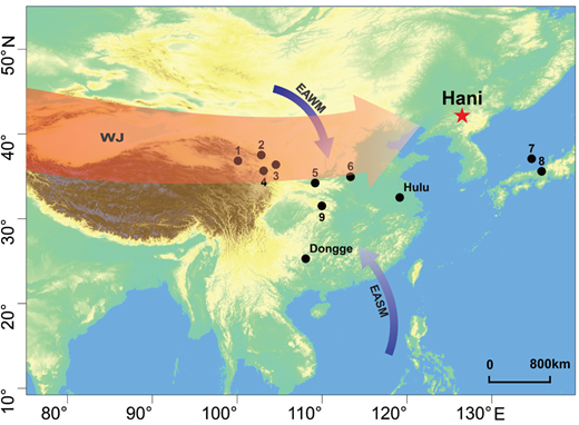 Location of the Hani peat in northeast China and other sites in the East Asian monsoon (EAM) region: 1—Lake Qinghai, 2—Gulang loess, 3—Jingyuan loess, 4—Yuanbao loess, 5—Lantian loess, 6—Mangshan loess, 7—marine sediment core MD01–2407, 8—Lake Suigetsu, 9—Dajiuhu peat. EASM—East Asian summer monsoon, EAWM—East Asian winter monsoon, WJ—Westerly jet.