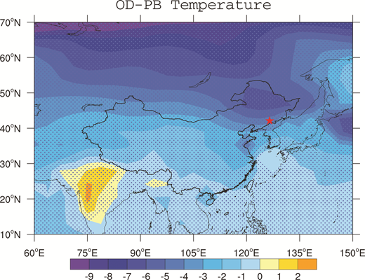 National Center for Atmospheric Research Community Climate System Model version 3 simulated distribution of annual mean surface air temperature difference (in °C) between Oldest Dryas (OD) and Preboreal (PB). Red solid star represents the location of the Hani peat (northeast China). The simulation data were extracted from Liu et al. (2009). The stippled areas show a confidence level higher than 95% using a Student's t-test.