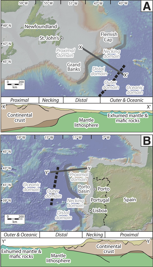 Continental margin maps, schematic cross-sections, and architectural elements after Péron-Pinvidic et al. (2013). Solid gray line shows necking domain; dashed black line shows outer domain. A: Newfoundland margin. B: Iberia margin.