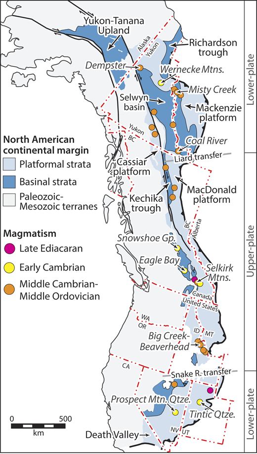 Ediacaran–early Paleozoic magmatic rocks and basins of the North American Cordillera adapted from Colpron and Nelson (2009) and Lund (2008). Lower- and upper-plate divisions are from Lund (2008). References for Cordilleran magmatism are provided in the GSA Data Repository1. Gp.—Group; R.—river, Mtns.—Mountain, Qtze.—Quartzite.