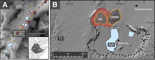 A: Study sites in the Main Ethiopian Rift. AW—Lake Awassa, TI—Lake Tilo, CH—Lake Chamo. Quaternary calderas (red outlines): F—Fentale, G—Gedemsa, A—Alutu, C—Corbetti. Stars mark Holocene volcanic centers (Siebert et al., 2010) B: Digital elevation hillshade map of the Corbetti caldera (red outline) and surrounding area. Lake Awassa is on the southern extremity of the Corbetti caldera, within the Pliocene Awassa caldera (black dashed outline). Lake Tilo is located <40 km west of Corbetti.