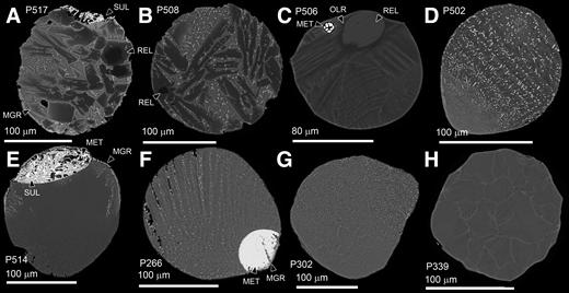 Backscattered electron images of urban cosmic spherules. REL—relict grain, SUL—sulfide, MET—metal, MGR—magnetite rim, OLR—olivine rim. A–C: Porphyritic spherules. D–F: Barred olivine spherules. G, H: Cryptocrystalline spherules.
