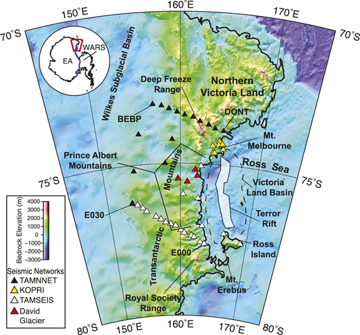 Map of study area in Antarctica. Stations (triangles) are color-coded by network (see the Data Repository [see footnote 1]), and first and last stations along the Transantarctic Mountains Seismic Experiment (TAMSEIS) and the Transantarctic Mountains Northern Network (TAMNNET) transects are labeled. Bedrock topography is from ETOPO1 model (Amante and Eakins, 2009). Dashed black line denotes boundary of Victoria Land Basin, and white shaded region denotes Terror Rift (modified from Bannister et al., 2003). (Inset) Outline of Antarctica. Red polygon highlights study region, and blue line marks boundary between East Antarctica (EA) and West Antarctic Rift System (WARS).