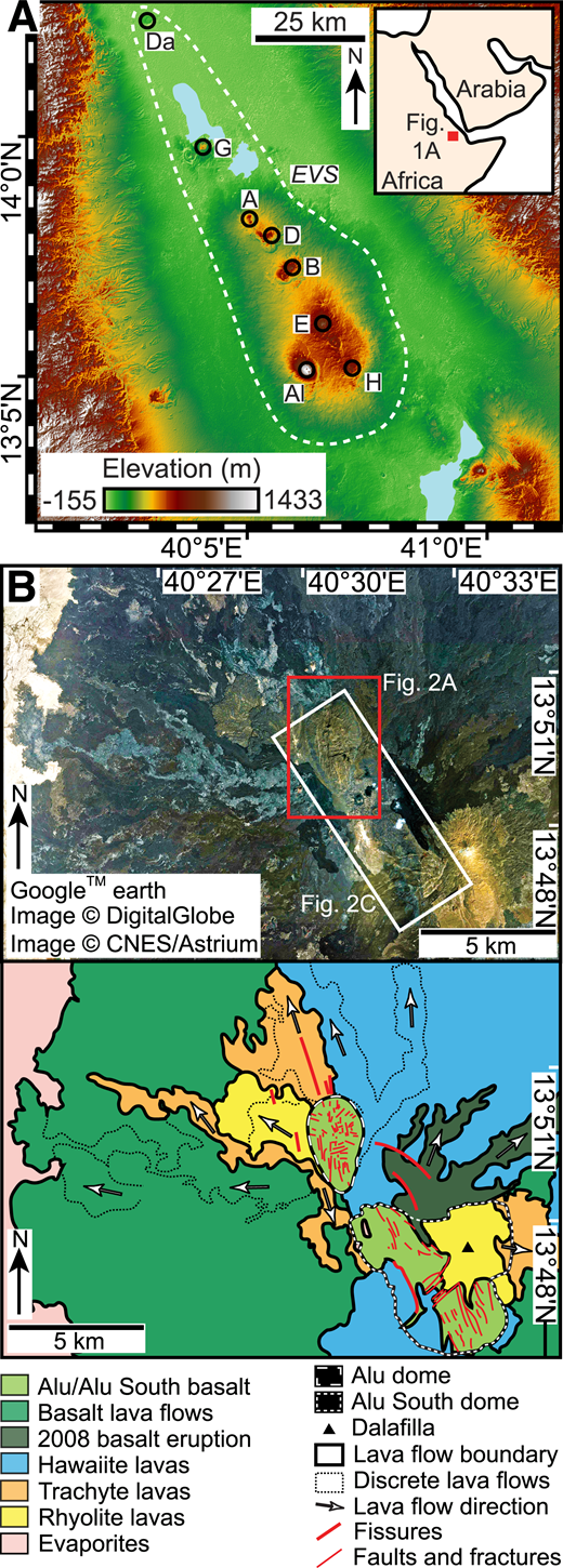 A: Topography of Erta'Ale volcanic segment (EVS), Danakil depression, Ethiopia. Ale Bagu (Al), Hayli Gabbi (H), Erta'Ale (E), Borale'Ale (B), Alu (A), Dalafilla (D), Gada'Ale (G), and Dallol (Da) volcanic centers are highlighted. B: Uninterpreted and interpreted Google Earth™ satellite image of Alu-Dalafilla volcanic center and surrounding lavas (based on Barberi and Varet, 1970; Pagli et al., 2012).