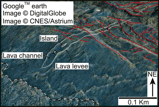 Levee-bound lava channel that flowed around island of older basalt, Alu dome (Ethiopia; see Fig. 2A for location). Vertical exaggeration = 1.5×.