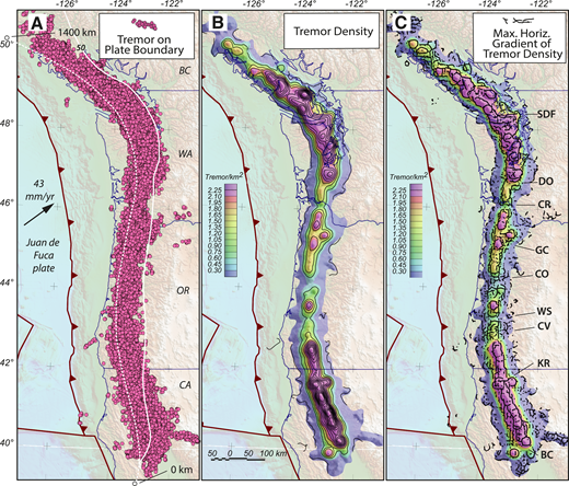 Tremor locations, tremor density, and maximum horizontal gradients of tremor density, Cascadia subduction zone, northwestern United States and adjacent Canada. A: Tremor locations from the Pacific Northwest Seismic Network tremor map PNSN, 2009–2015 (http://www.pnsn.org/tremor/). The 50 km contour on megathrust is white, and line of reference for Figure 3 is dotted. CA—California, OR—Oregon, WA—Washington, BC—British Columbia, Canada. B: Contours of tremor epicenters/km2 (tremor density) show variation in tremor density along strike. C: Maximum horizontal (Max. Horiz.) gradient of tremor density (black dots, dotted lines) outline band of maximum tremor segmented by transverse zones of lower tremor indicated by letter code (SDF—Strait of Juan de Fuca; DO—Doty; CR—Columbia River; GC—Gales Creek; CO—Corvallis; WS—Wildlife Safari; CV—Canyonville; KR—Klamath River; BC—Battle Creek; for method, see the Data Repository [see footnote 1]).